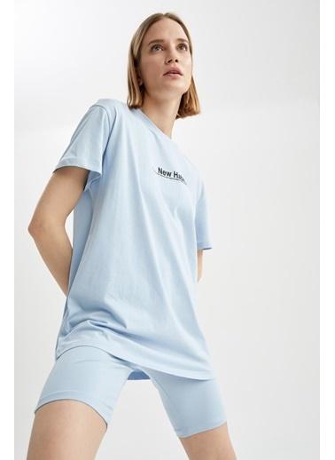 DeFacto Relax Fit Slogan Baskılı Kısa Kol Tişört Mavi